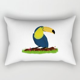 colorful toucan bird on a branch in the herbs nature Rectangular Pillow