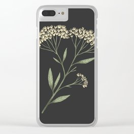 Yarrow / Milfoil illustration on dark background Clear iPhone Case
