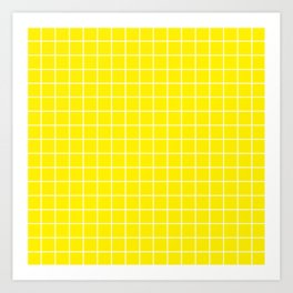 Canary yellow - yellow color - White Lines Grid Pattern Art Print