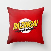 bazinga Throw Pillows featuring Bazinga Flash by Nxolab