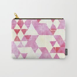 Abstract Pink Triangles, Watercolor Pattern Carry-All Pouch