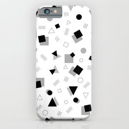 Memphis Style Black and White Pattern iPhone Case