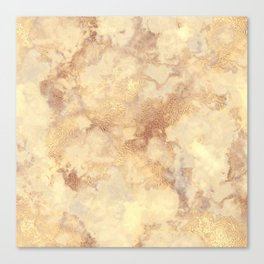 Elegant vintage faux gold boho chic marble Canvas Print