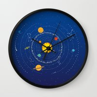 solar system Wall Clocks featuring Solar System by Lalu