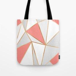 Coral, Grey & Gold Geo Tote Bag