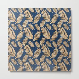 Modern navy blue faux gold glitter tropical floral Metal Print