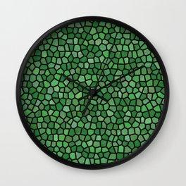 Jewel Tone Mosaic in Green Wall Clock