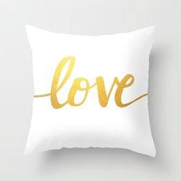 Love Gold Throw Pillow