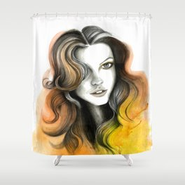 Yellow and Orange Flame Hair Shower Curtain