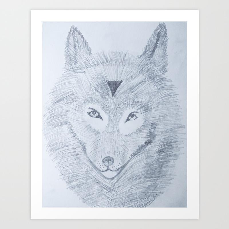 Wolf face drawing art print
