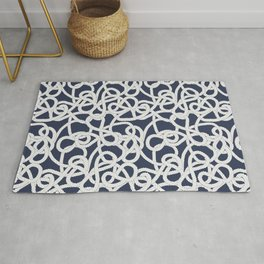 Nautical Rope Knots in Navy Rug