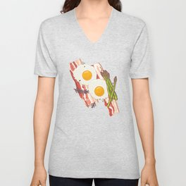 Breakfast pattern Unisex V-Neck