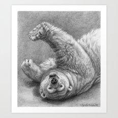 Polar Bear Stretching G039 Art Print