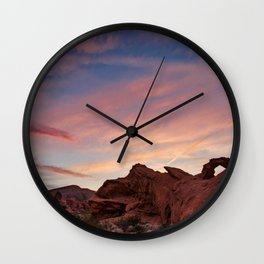 Arch Rock Sunset, Valley of Fire - I Wall Clock