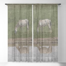 Grazing Horses by the River Sheer Curtain