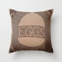 eggs Throw Pillows featuring Eggs by brit eddy