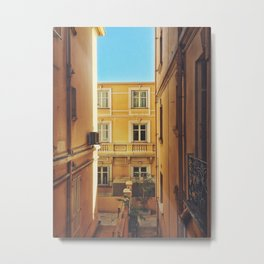 Back alley on the streets of Monaco Metal Print