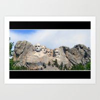 rushmore Art Prints featuring Mt. Rushmore by SParvathaneni