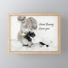 Easter bunny and kitten Framed Mini Art Print