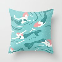 mermaids Throw Pillows featuring Mermaids by JESS SMART SMILEY