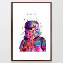 Soldier White Framed Art Print