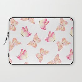 Hand painted pink coral watercolor pretty butterflies Laptop Sleeve