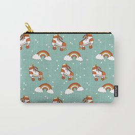 Rollerskates nostalgia pattern print cute 80s rainbows retro style by andrea lauren Carry-All Pouch