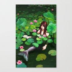 Mermaid Among Lillies Canvas Print