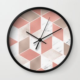 Summer peach marble geometry Wall Clock