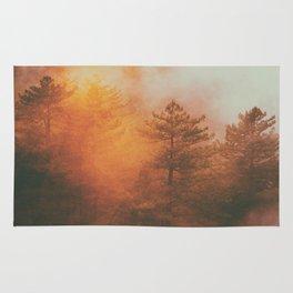 Foggy Sunrise Over Forest Rug