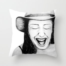 So Amused! Expressions of Happiness Series -Black and White Original Sketch Drawing, pencil/charcoal Throw Pillow