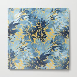 Summer Tropical Metallic Blue & Yellow Foliage Design Metal Print