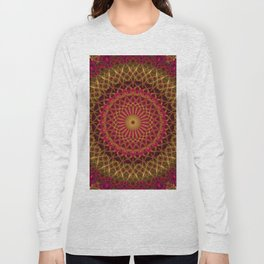 Detailed red and golden mandala Long Sleeve T-shirt