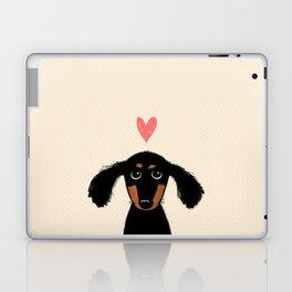Dachshund Love | Longhaired Black and Tan Wiener Dog Laptop & iPad Skin