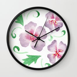 framed purple flowers Wall Clock