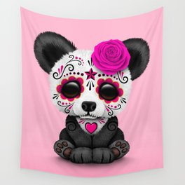 Pink Day of the Dead Sugar Skull Panda Wall Tapestry