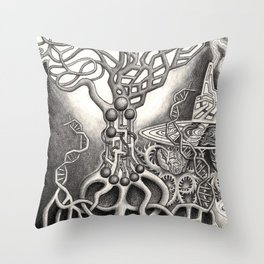 BioTechnological DNA Tree and Abstract Cityscape Throw Pillow