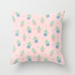 Happy cactus pattern Throw Pillow