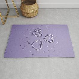 Ultra Violet LOVE Glitter Hearts #1 #shiny #decor #art #society6 Rug
