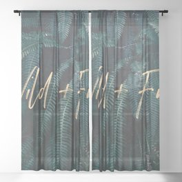 Wild And Free - Gold on Forest Ferns Sheer Curtain