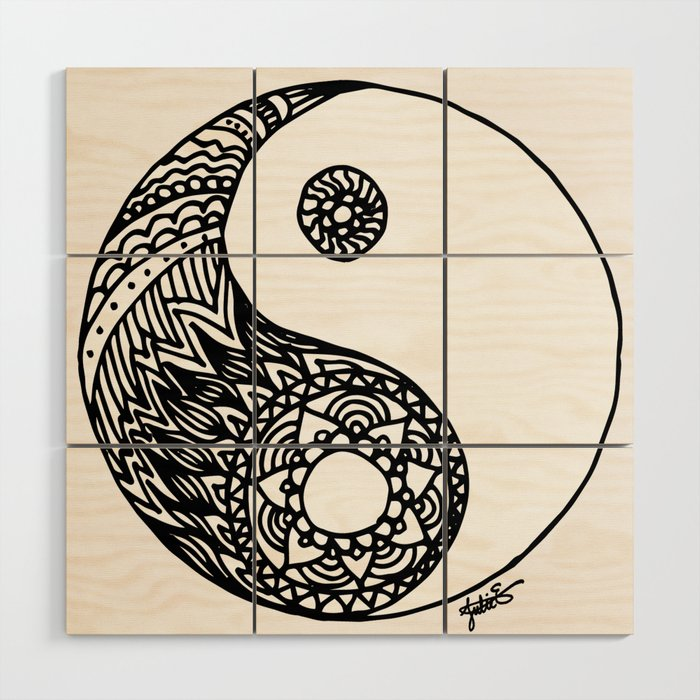Tangled Yin Yang Wood Wall Art by julieerindesigns | Society6