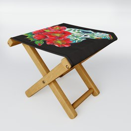 Sugar Skull with Red Poppies Folding Stool