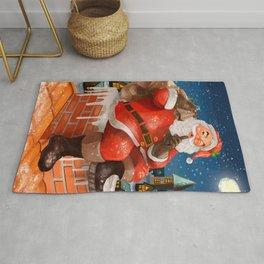 Santa On The Roof Xmas Cmas Christmas Rug