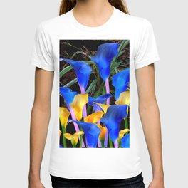 BLACK MODERN ABSTRACT BLUE & GOLD CALLA LILIES T-shirt