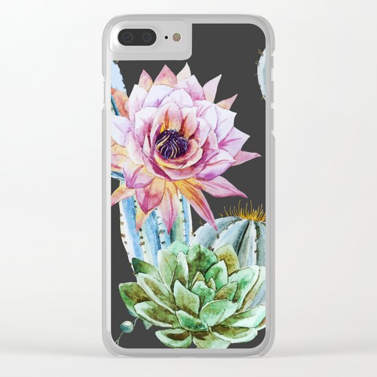 Cactus Pattern 10 Clear iPhone Case