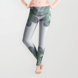 Succulent botanic print grey Leggings
