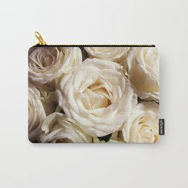 White roses photo. Boho flowers photography. Botanical decor. Floral gift for sister Carry-All Pouch