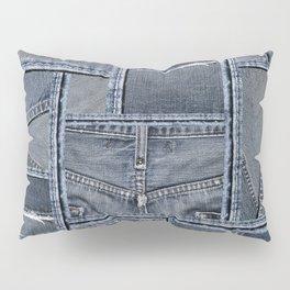 Blue Jeans Denim Patchwork Pattern Pillow Sham