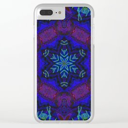 Bioluminescent Tribal Lotus Clear iPhone Case