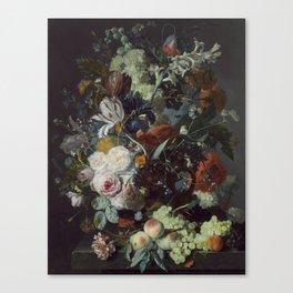 Jan van Huysum Still Life with Flowers and Fruit Canvas Print